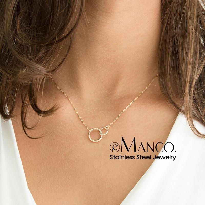 eManco stainless steel necklace women pendant necklace chokers for women fashion jewlery best friend necklace kolye(China)