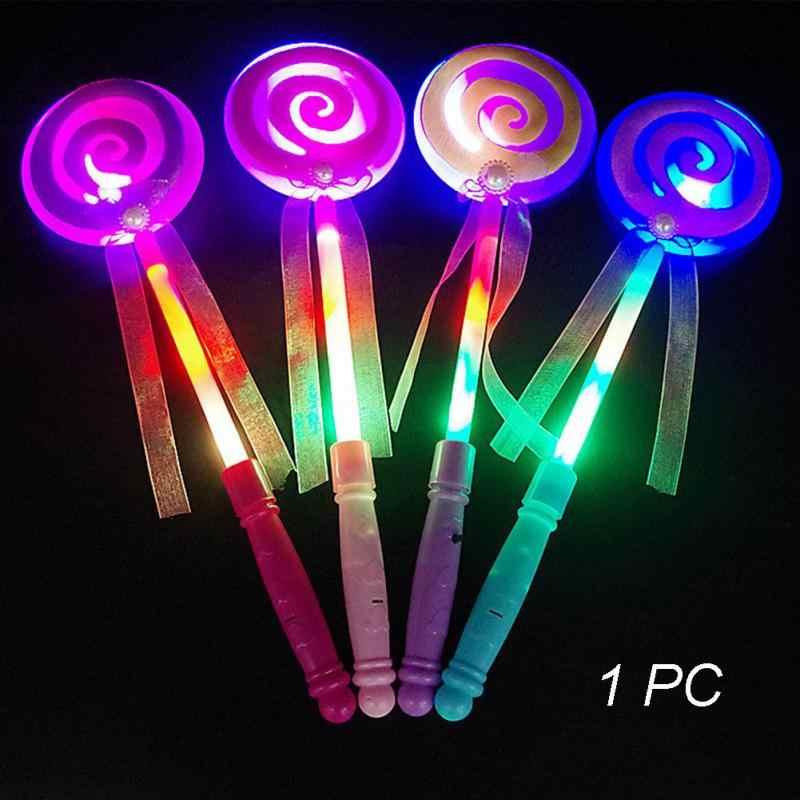 Caramelos de juguete para niños, corazón de azúcar, luz de felpa colorida, adorno brillante luminoso Led, palo mágico, regalos de cumpleaños, juego interactivo