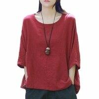Tshirts Cotton Women 3/4 Sleeve O Neck Solid Summer Shirts Women Purple Wine Beige White Plus Size Women Top Clothing