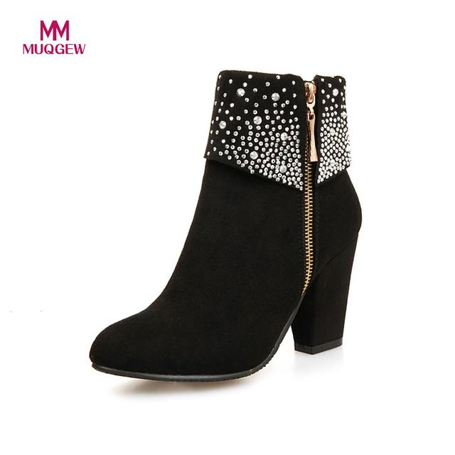 New Fashion Shoes Women Boots Autumn Winter Rhinestone Crystal Thick Square Flock Ankle Zipper Warm Boots Round Toe Shoes