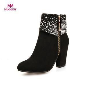 Image 1 - Nouvelles chaussures de mode femmes bottes automne hiver strass cristal épais carré troupeau cheville fermeture éclair bottes chaudes bout rond chaussures