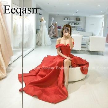 2020 Prom Dresses Side Slit Off Shoulder Sweetheart Satin Elegant Long Evening Party Gowns Women Formal Dress vestidos de festa