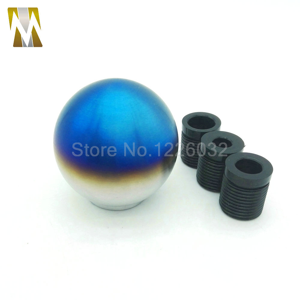 tip burnt round ball car blue manual shift knob lever gear. Black Bedroom Furniture Sets. Home Design Ideas