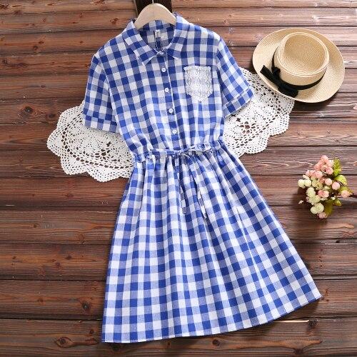 Mori Girl Summer Dress 2018 New Fashion Women Short Sleeve Plaid Cotton Dresses Red Blue Vintage Vestidos S-XXL Clothing