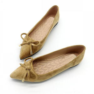 Image 5 - BEYARNEElegant Spring PlusSize Flats Flock Bowtie Womens Flats Pointed Toe Comfortable Lady Woman Flat Shoes Ladies SingleShoes