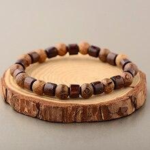 OIQUEI 8mm Natural Round Cylinder Wood Beads Bracelet Men Classic Elastic Buddhist Prayer Buddha Bracelet Hommes bileklik bijoux