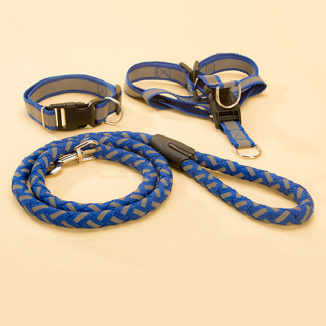 Hipidog Step-in Adjustable Reflective Nylon Noctilucent Small Large Dog Puppy Collar Harness Leash Lead Set Safety for Walking