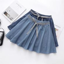 купить Women Denim Skirt Casual Drawstring Bow Denim Women Solid Color A-line Mini Skirt Female Elegant Big Hem Fashion Jean Skirt в интернет-магазине