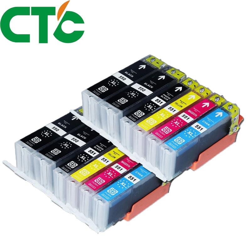 12 Pack PGI 550 CLI551XL Ink Cartridge Compatible for Canon Pixma IP7250 MG5450 MX925 MG5550 MG6450 MG5650 MG6650 IX6850 MX725