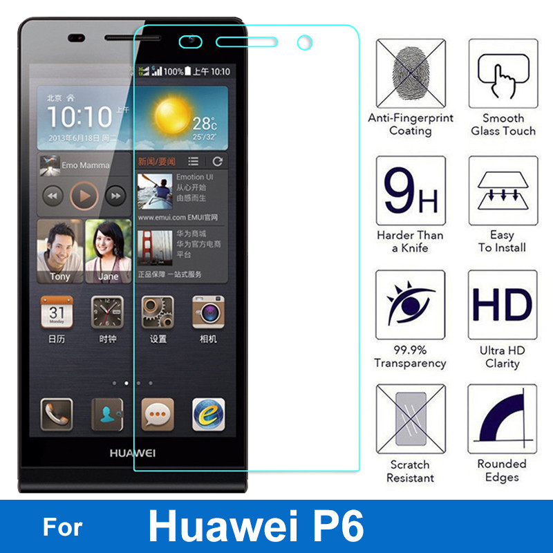 Screen Protector For Huawei Ascend P6 P 6 P6S P6 S P6-C00 GL11S P6-T00 Tempered Glass Film 2.5D Round Edge Explosion Proof