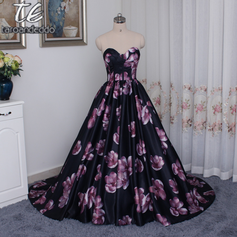 New Printed Flowers Prom Dress Ball Gowns A-line Sweetheart Floor ...