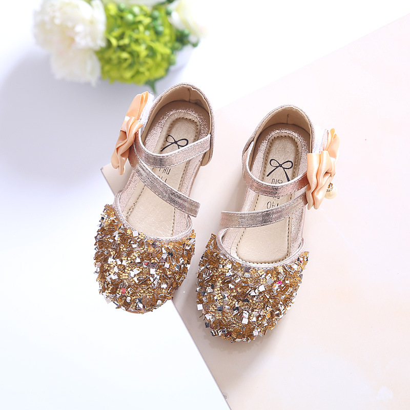 2018 Children Princess Glitter Sandals Kids Girls Soft Shoes Square Low-heeled Dress Party Shoes Pink /Silver/Gold Size21-37