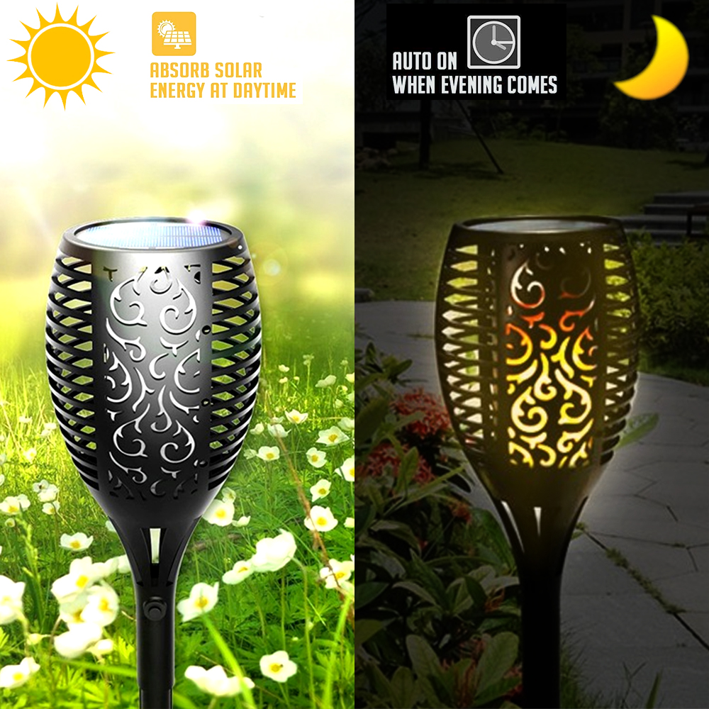 Image 3 - 1/2/4pcs Solar Flame Lamp Flickering Outdoor IP65 Waterproof Landscape Yard Garden Light Path Lighting Torch Light-in Solar Lamps from Lights & Lighting