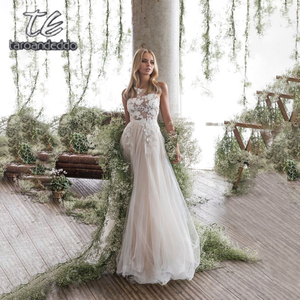 Image 3 - Spaghetti Straps Scoop Wedding Dress Sleeveless 3D Flower Lace Appliques Backless A Line Tulle Illusion Bridal Gown with Train