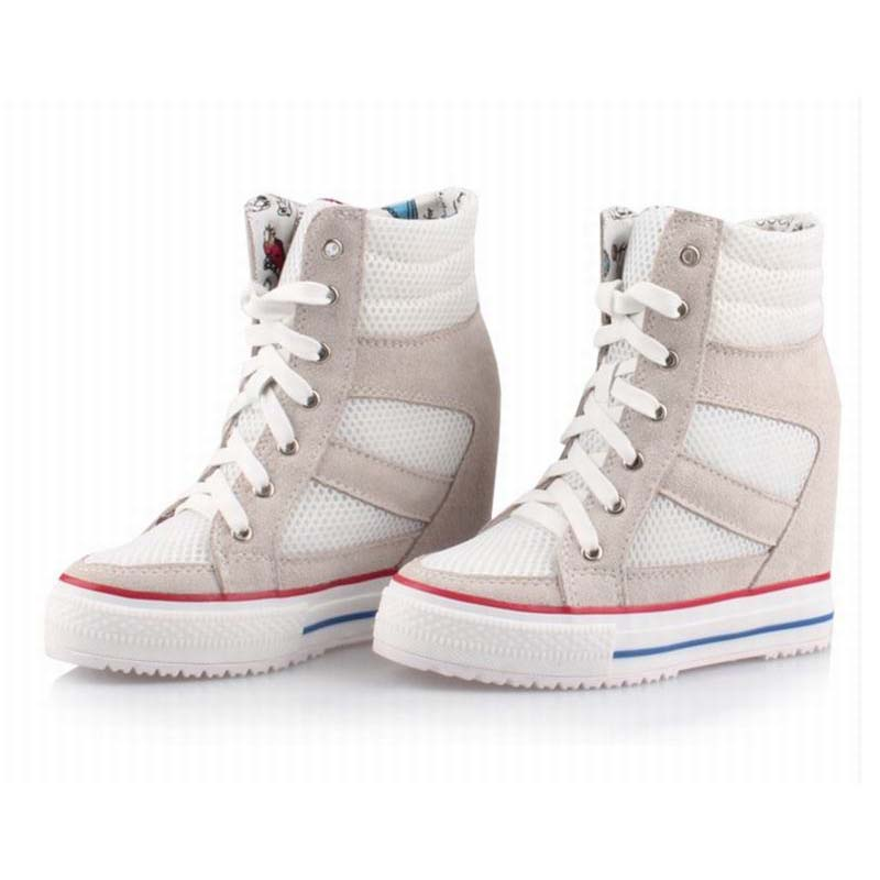 breathable mesh casual shoes fashion platform height increasing high top lace up comfortable women invisible elevator shoes boot sparkz юбка до колена