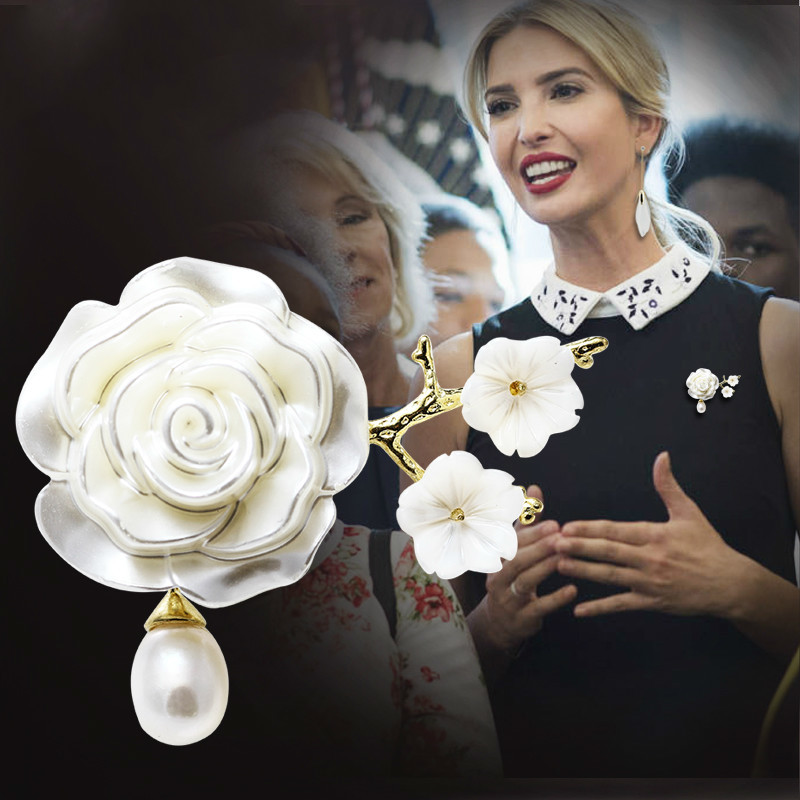Ivanka Trump Classical Royalty Camellia Flower Brooch Concise Pearl Brooch Women Pins And Brooches Jewellery Dress Gift Rose Pin