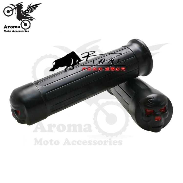 top quality scooter skull black CNC skeleton head decal retro motorbike handle grips motorcycle handlebar for harley moto grip