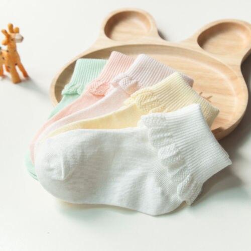 5 пар разных Цвет носки для малышей Non Скид с ручкой новорожденных Для 0-6Years горячая девушка сладкий хлопок сплошной Цвет кружевные носки