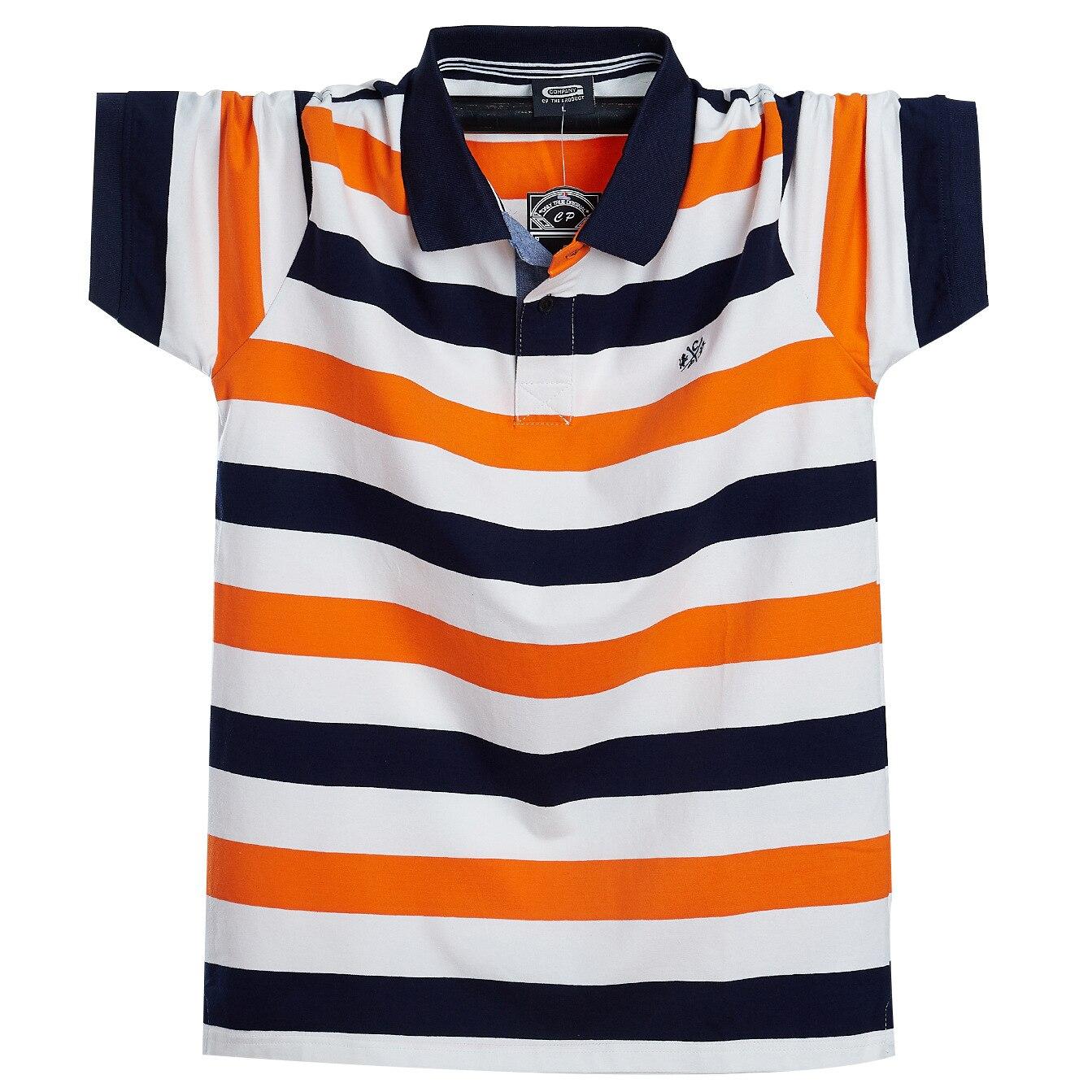 Men Stiped Polo Shirt Plus Size 6xl 7xl 8xl New Summer Brand Men Cotton Striped Polo Men's Homme Camisa Short Sleeves  Shirt