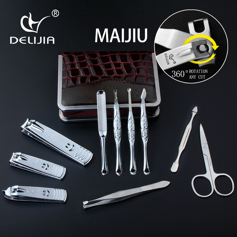 DeLiJia 10pcs Nail Clipper Kit Nail Care Set Pedicure Scissor Tweezer Knife Ear pick Utility Manicure Set Tools German Process stainless steel pedicure manicure set nail clipper scissors nail care nipper cutter cuticle grooming kit