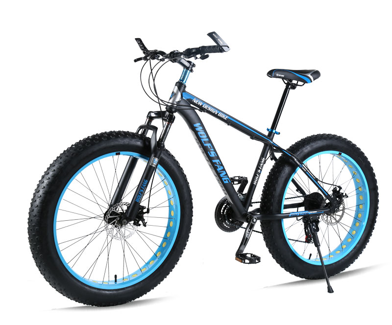 "HTB13ZafXsfrK1Rjy1Xdq6yemFXav wolf's fang Mountain bike Aluminum Bicycles 26 inches 21/24 speed 26x4.0"" Double disc brakes Fat bike road bike bicycle"