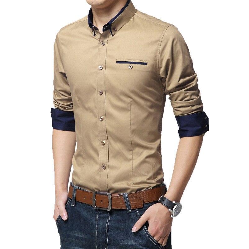 2018 New Spring Cotton Shirts Men High Quality Long Sleeve Slim ...