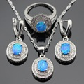 Round Fire Blue Opal White Created Topaz Silver Color Jewelry Sets For Women Necklace Pendant Drop Earrings Rings Gift Box