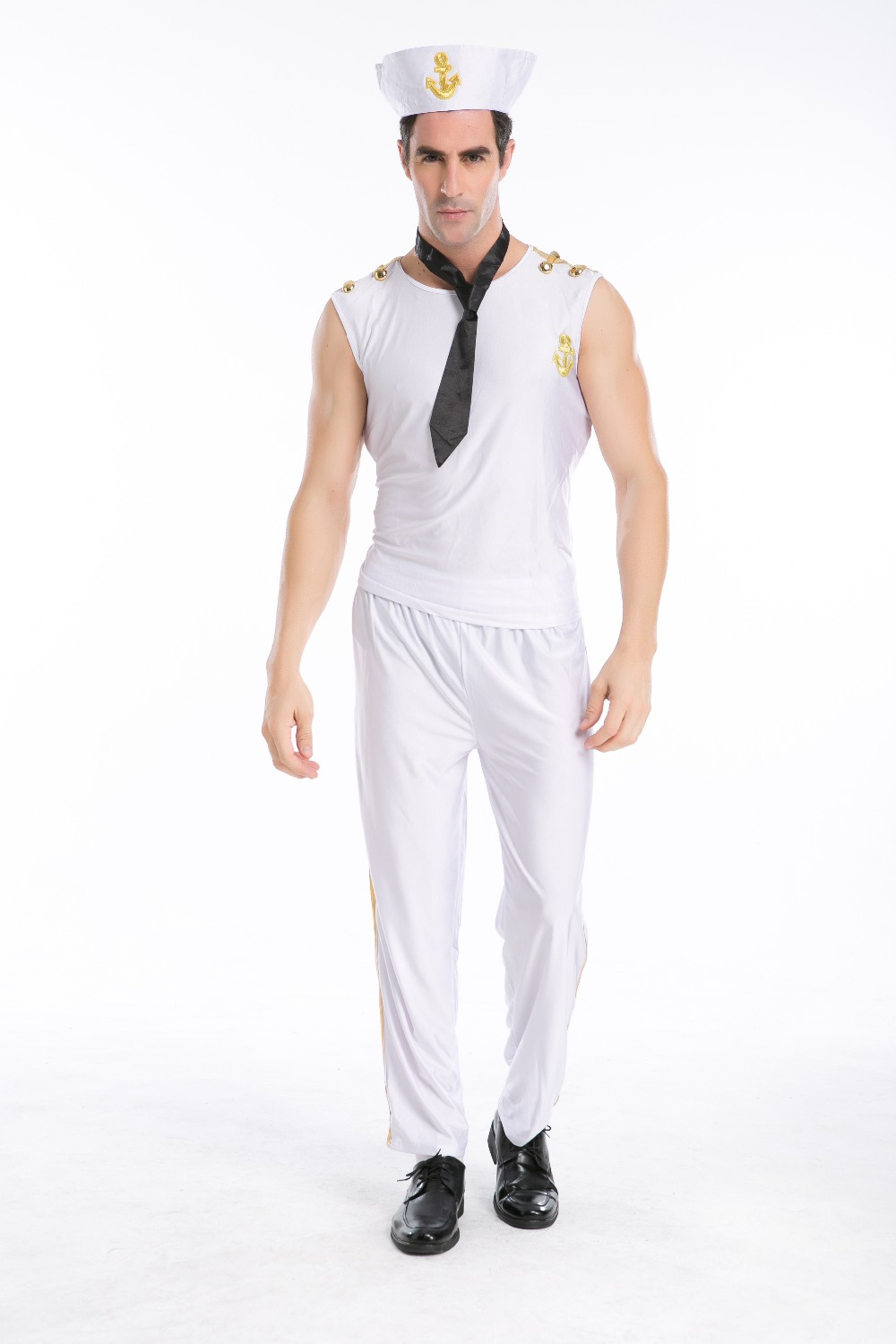 2017 Hot Sexy New men white navy clothes sexy sailor Costume Halloween Costumes white cosplay costume
