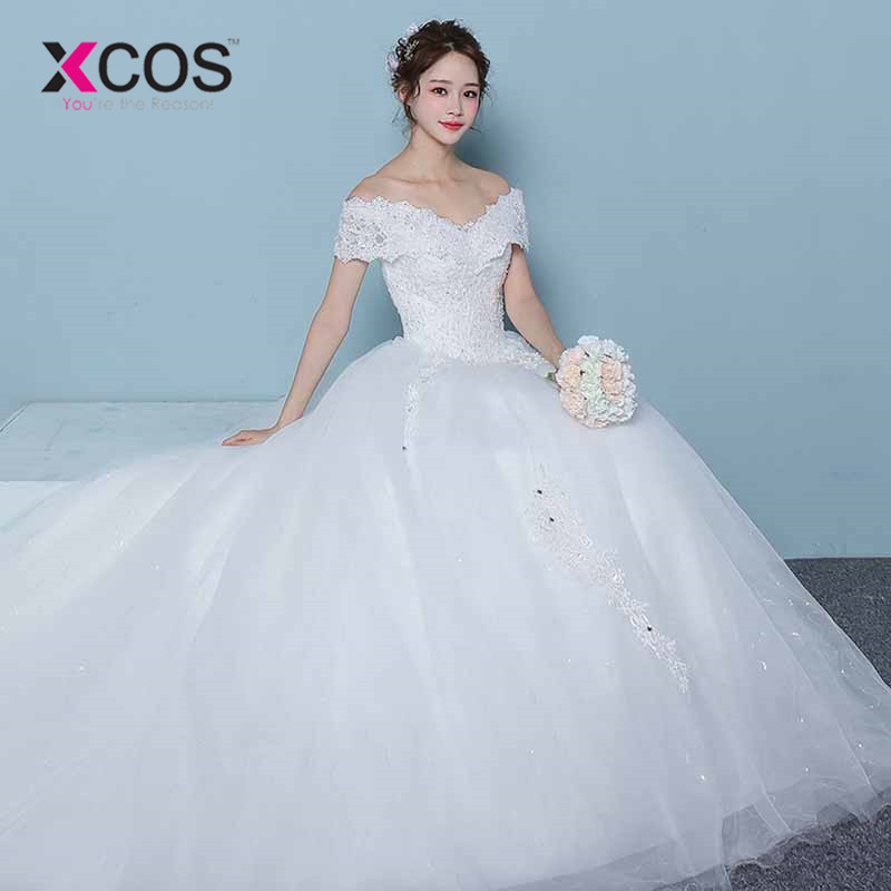 XCOS Elegant Ball Gown Wedding Dresses 2018 Off the Shoulder White