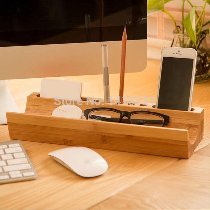 free shipping stationery holder creative fashion office table wood shelving sundries desktop bamboo storage box tray cheap office storage