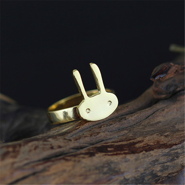 Sale Exclusive Handmade Cute Bunny Rings Genuine 925 Sterling Silver Fine Jewelry  New Fashion Accessories For Women Anel