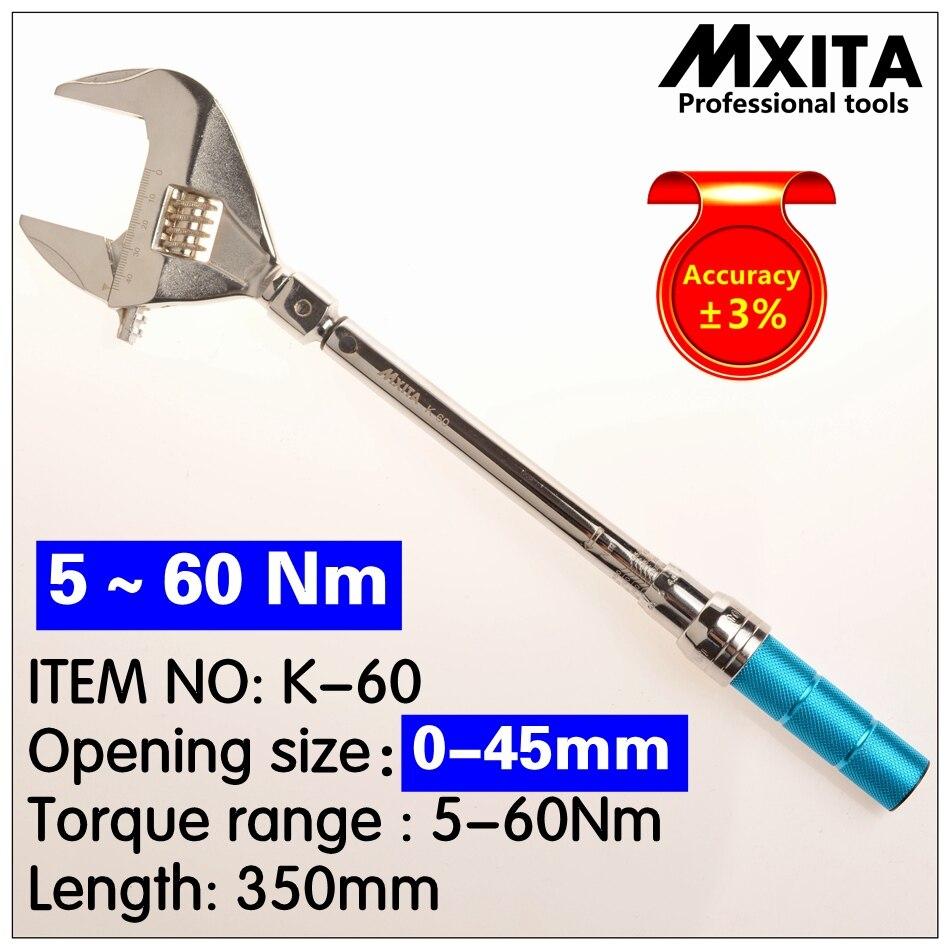 MXITA 5-60Nm precisão 3% Inserir Torquímetro ABERTO Terminou cabeça 0-45mm Intercambiáveis Chave de Torque Ajustável Chave Mão