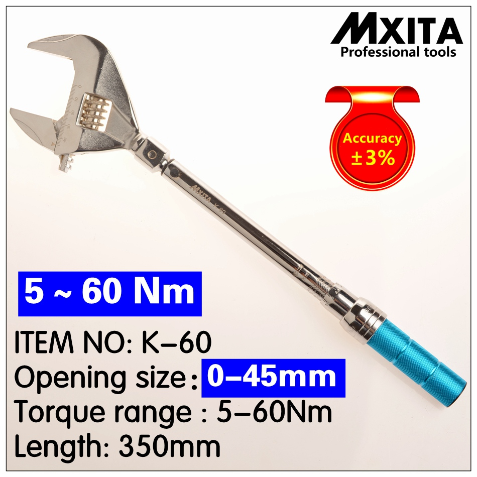 MXITA OPEN Torque Wrench 5-60Nm Accuracy 3% Insert Ended Head 0-45mm Adjustable Torque Wrench Interchangeable Hand Spanner