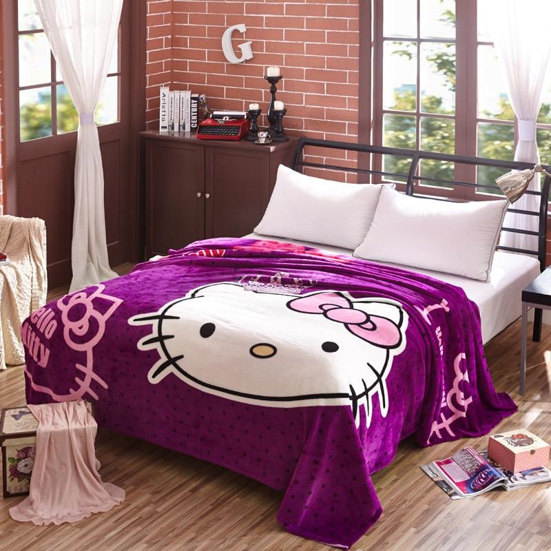 King Size 200x230cm Hello Kitty Cartoon Blanket Soft Touch