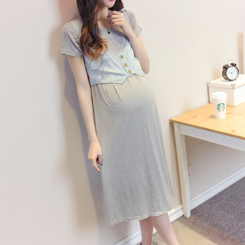 Summer Gowns Dress For Pregnant Women Loose Casual Dresses Maternity Clothes Pregnancy Clothing Y750 maternity clothes new stely fashion loose pure color cloak jacket clothes for pregnant women coat