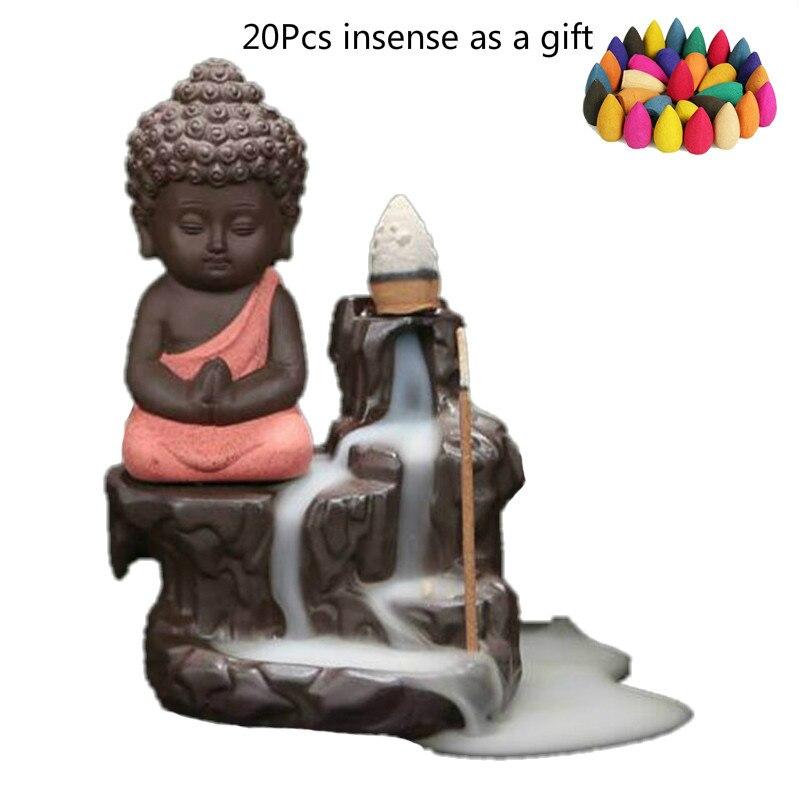 20 шт. Ладан конусов + горелка творческий маленький монах Маленький Будда розовый кадило обратного Ладан горелки Применение в доме s $