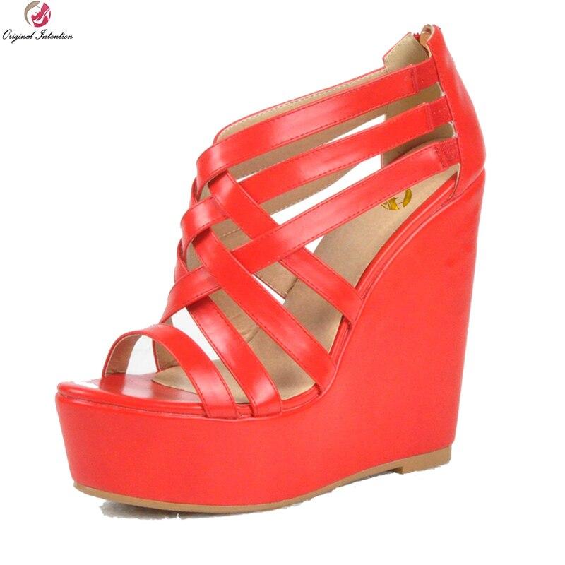 Original intención mujeres populares Sandalias elegante plataforma abierta  Sandalias alta calidad rojo Zapatos mujer más ee.uu. tamaño 4- 15 dd55f2c86b2b