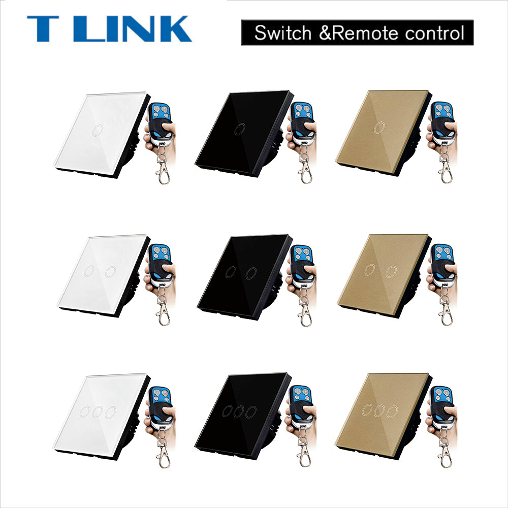 TLINK EU/UK standard 1 gang 2 gang 3 gang 1 Way Touch Switch Remote Control Wall Light Glass Panel eu uk standard sesoo remote control switch 3 gang 1 way crystal glass switch panel wall light touch switch led blue indicator