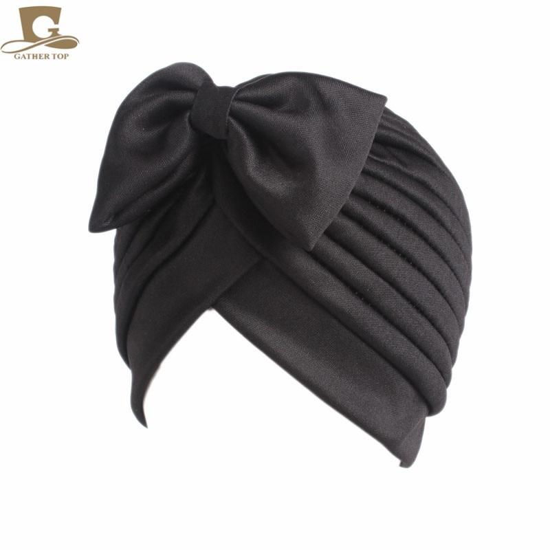 2017 Nieuwe mode vrouwen boog strik ruche tulband vrouwen haar cap - Kledingaccessoires - Foto 4