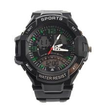 A1390 Alike Impermeable Mens Dual Time Sports Cuarzo Reloj de Pulsera Digital relojes de Alarma Al Aire Libre Militar LED Relojes Casuales