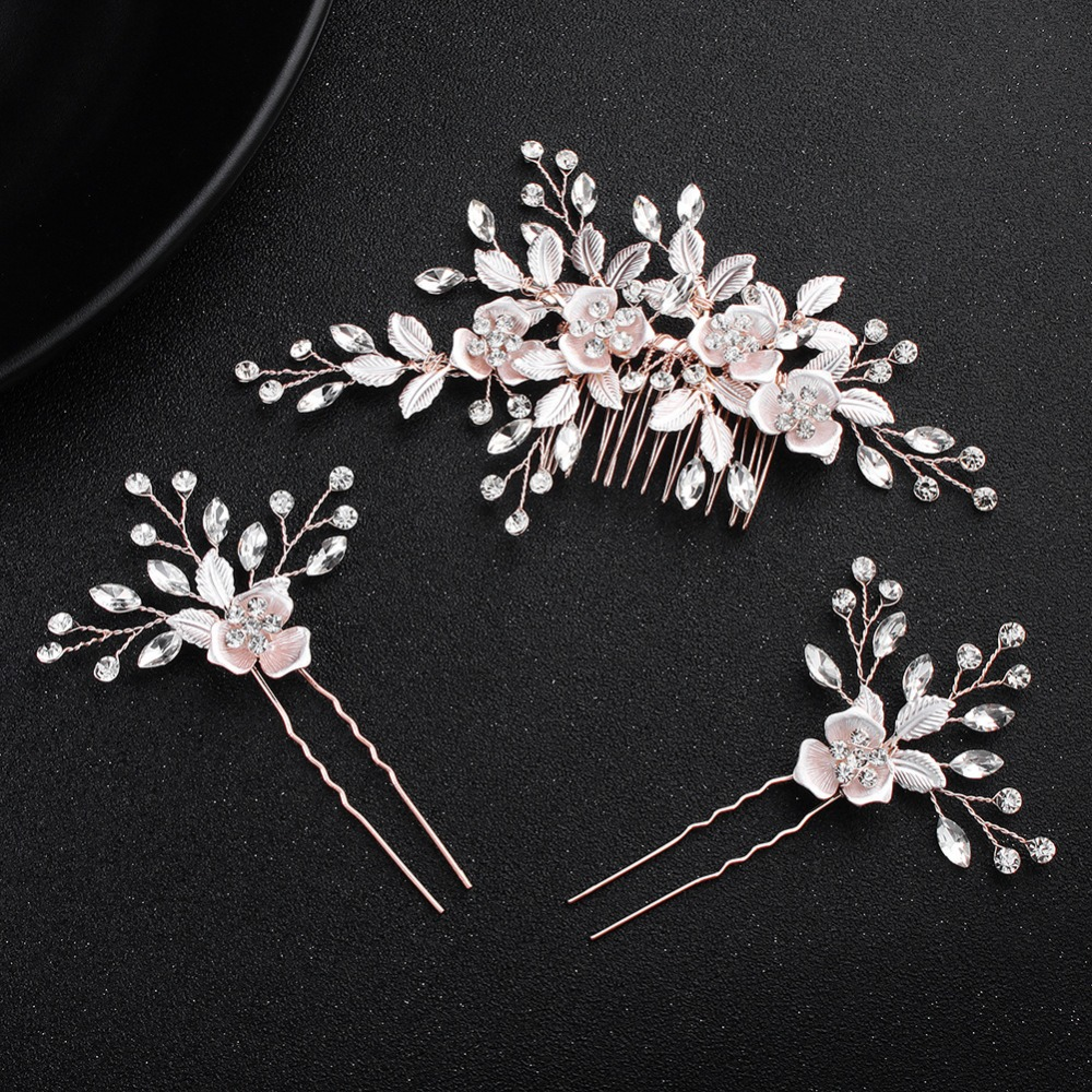 Parmalambe Floral Charms Hair Combs Hair Pins Wedding Hair Accessories Crystal In Clear Rhinestone Bridal Headpieces 1pcs crystal bowknot hair clips for girls rhinestone decorattion hairpins styling tools barrette braiding accessories hair pins