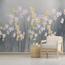 3D wallpaper simple beautiful flowers Nordic fashion TV background wall professional production mural photo