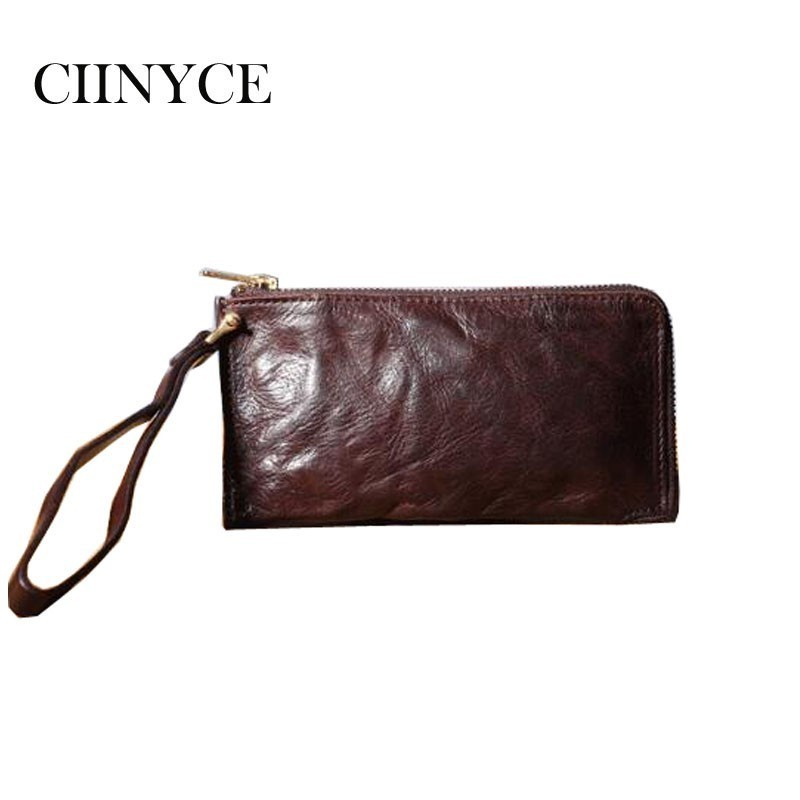 Men Vintage leather retro Purse long paragraph handmade multi-card bit first layer of Cow Skin ladies hand Clutches soft Wallets first layer cow skin 100