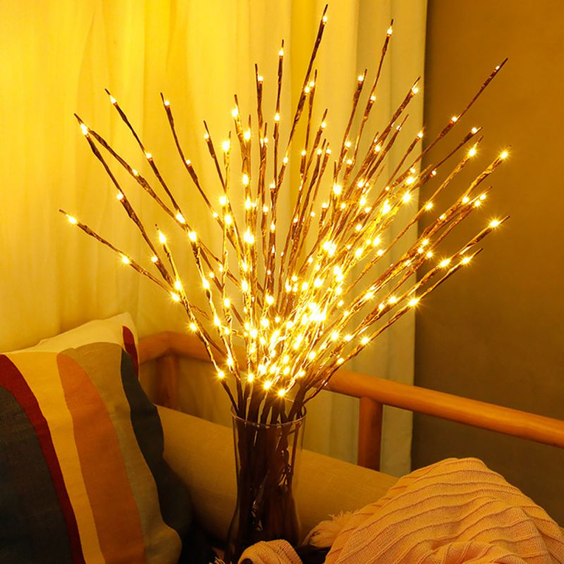 LED Willow Branch Lamp Christmas Vase Floral Lights 20 Bulbs Home Party Holiday Garden Decor Desktop Flower Decoration Lights