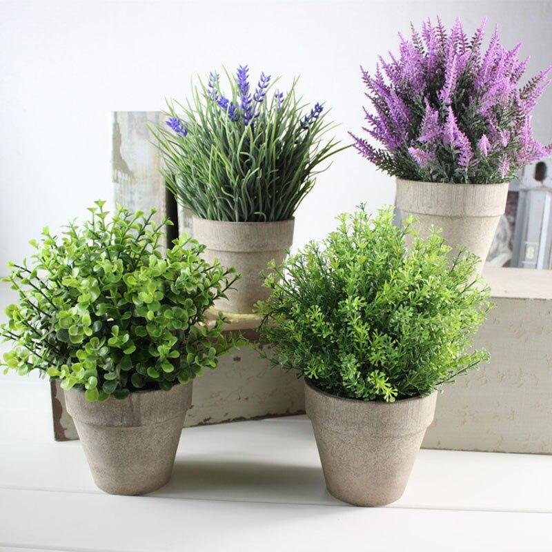 Acheter Plantes artificielles Vase Ensemble 6 Styles Tour Fleur En Pot Bonsaï En Plastique Faux Plantes Vertes En Pot Creative Accueil Décorations de fake green fiable fournisseurs