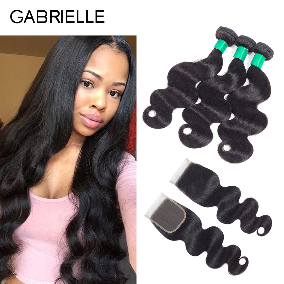 Gabrielle Peruvian Body Wave 3 Bundles with Closure Natural Black Human Hair Weaves with 4x4 Lace Closure Free/Middle/Three Part