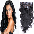 "Brazilian Clip In Human Hair Extensions 7/8/10Pcs/Set Full Head Brazilian Body Wave Clip In Hair Extensions 16""-26"" 1b# 70-220G"