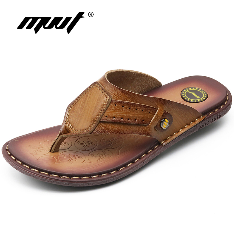 MVVT Quality Split leather Slippers Men Beach Sandals Comfortable Summer Shoes Men Slippers Classics Men Flip Flops fghgf shoes men s slippers mak