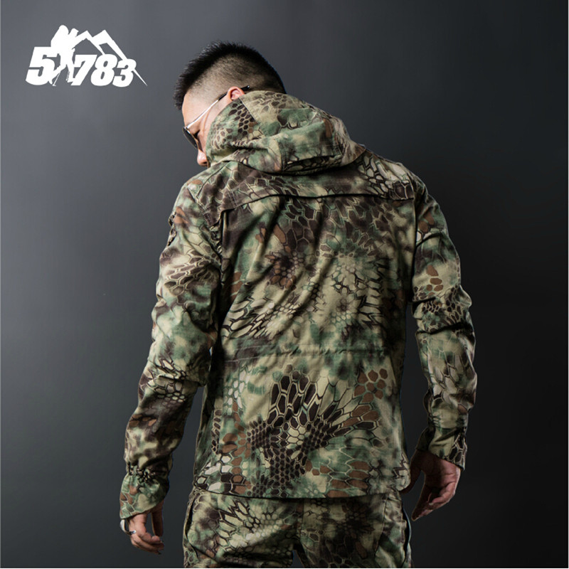 Camflouage Soft Coupe Camflouage vent jungle Imperméable Hommes Vêtements Camflouage Veste Camouflage Vestes Black desert Tactique Shell Respirant vn08wmN