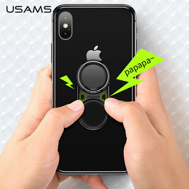 USAMS Finger Ring Holder Decompression Multifunction Fun Phone Holder Metal 360 Rotating Stand For IPhone Samsung S10 Xiaomi MI9